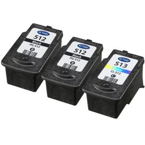 2x PG512 & 1x CL513 Remanufactured Canon Ink Cartridges