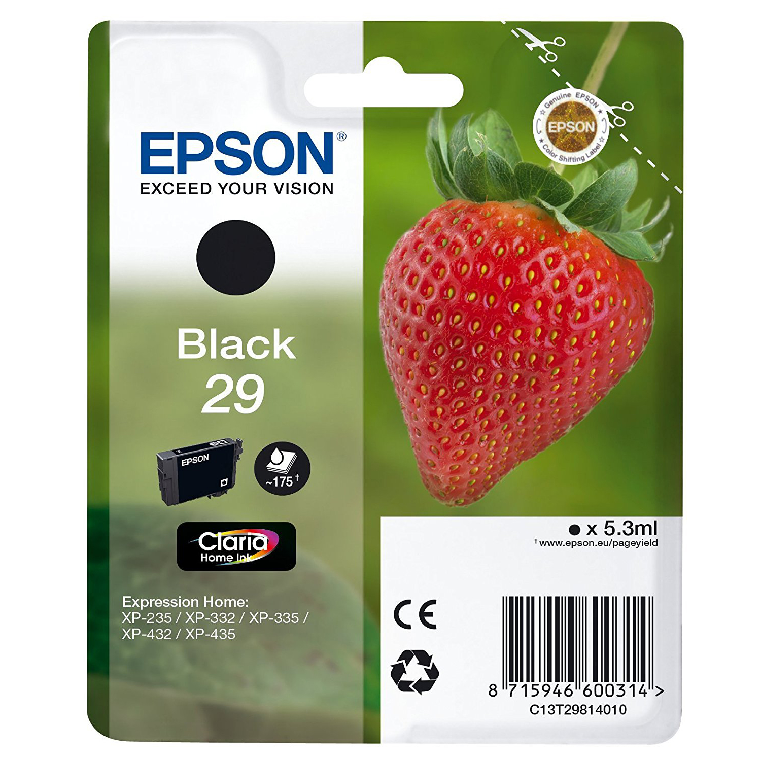 EPSON Strawberry T2981 Black Ink Cartridge