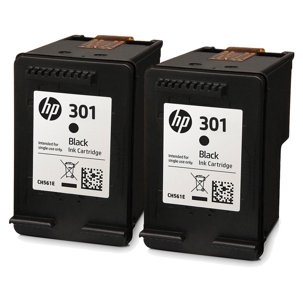 HP-301-Black-x2-Orig - 2x Original HP 301 Black Ink Cartridges