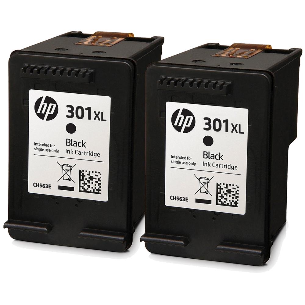 HP-301XL-Black-x2-Orig - 2x Original HP 301XL High Capacity Black Ink Cartridges