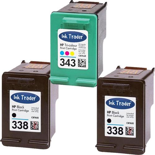 HP 338 343 Black Remanufactured Ink Cartridges