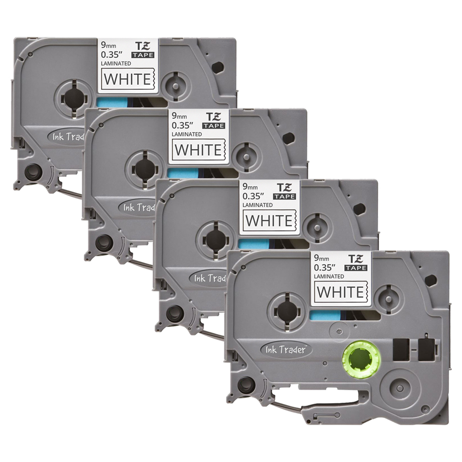 4x Brother P-Touch TZE-221 White Labels - Brother P-Touch TZE221
