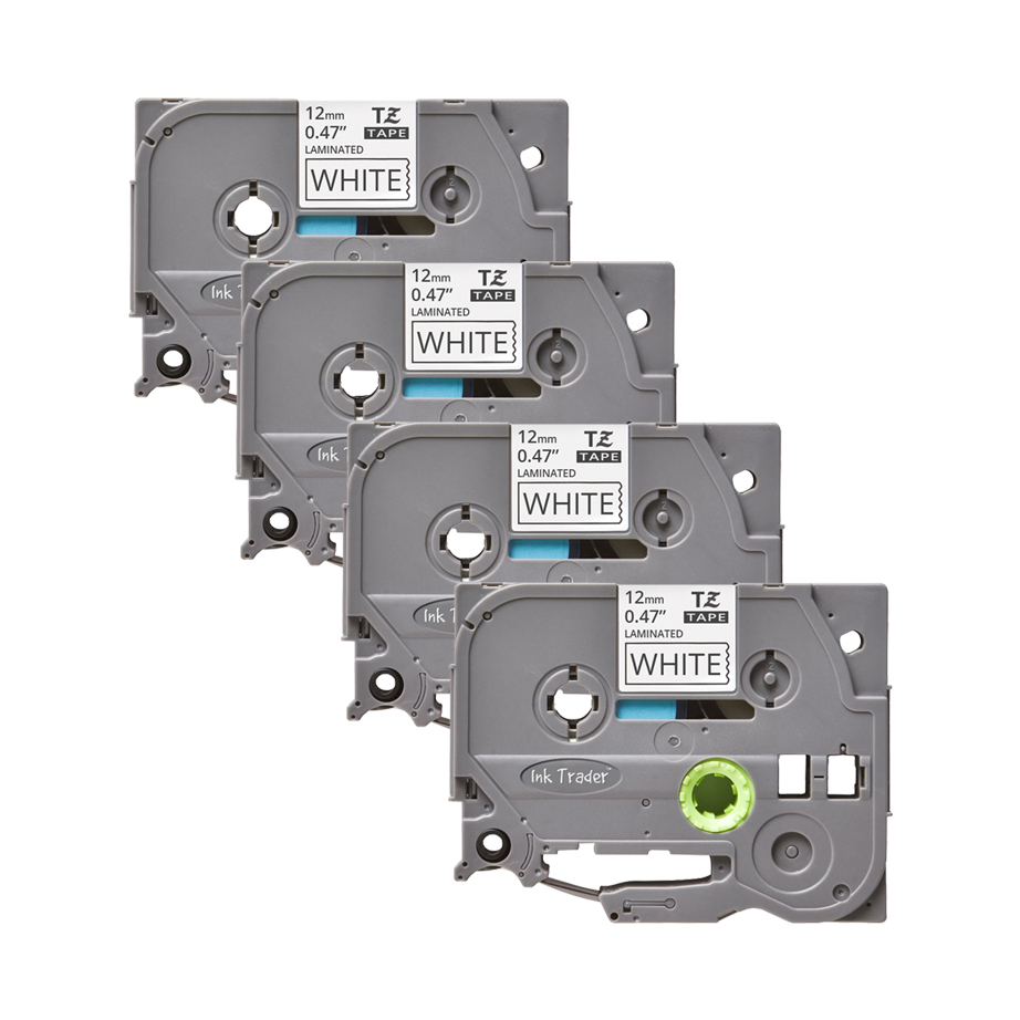 4x Brother P-Touch TZE-231 White Labels - Brother P-Touch TZE231