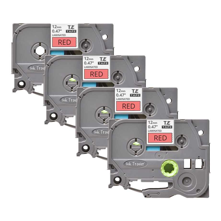 4x Brother P-Touch TZE-431 Red Labels - Brother P-Touch TZE431