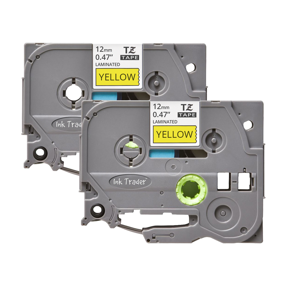 2x Brother P-Touch TZE-631 Yellow Labels - Brother P-Touch TZE631