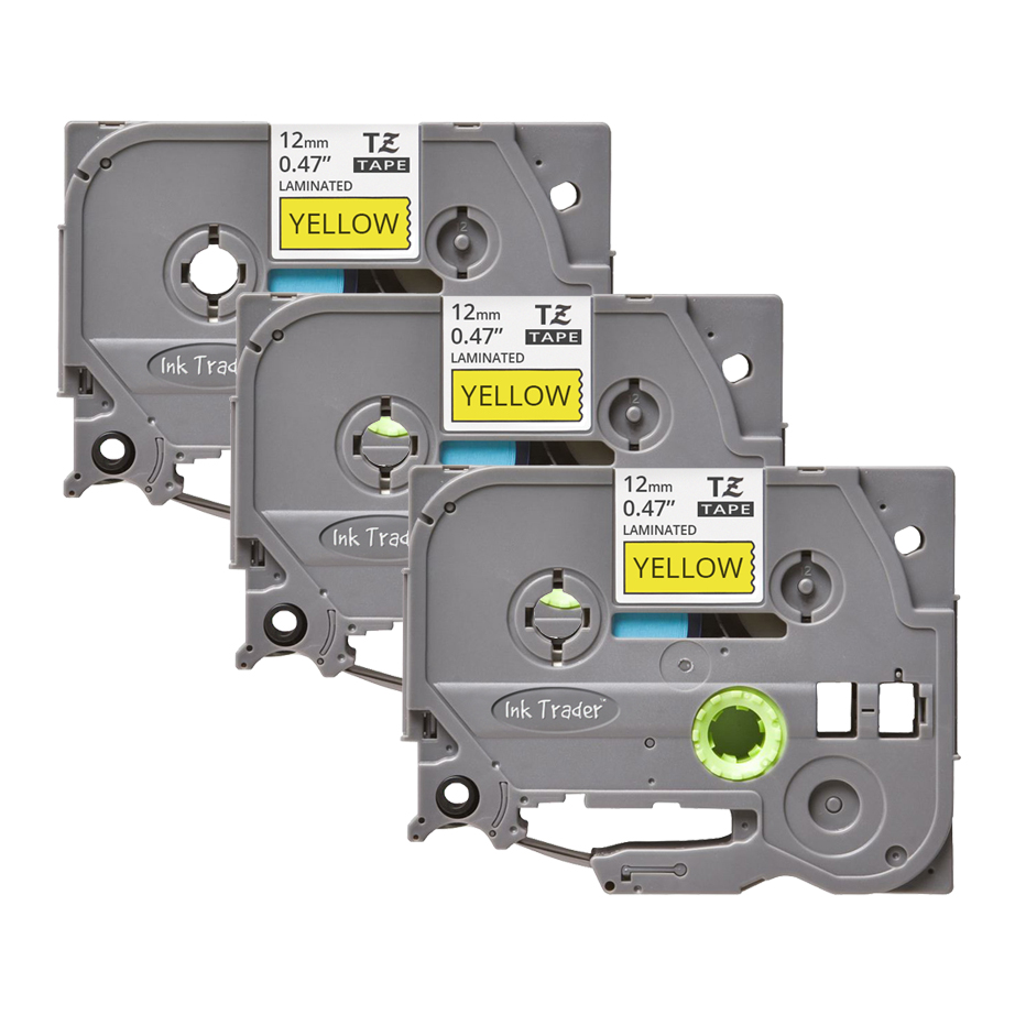 3x Brother P-Touch TZE-631 Yellow Labels - Brother P-Touch TZE631