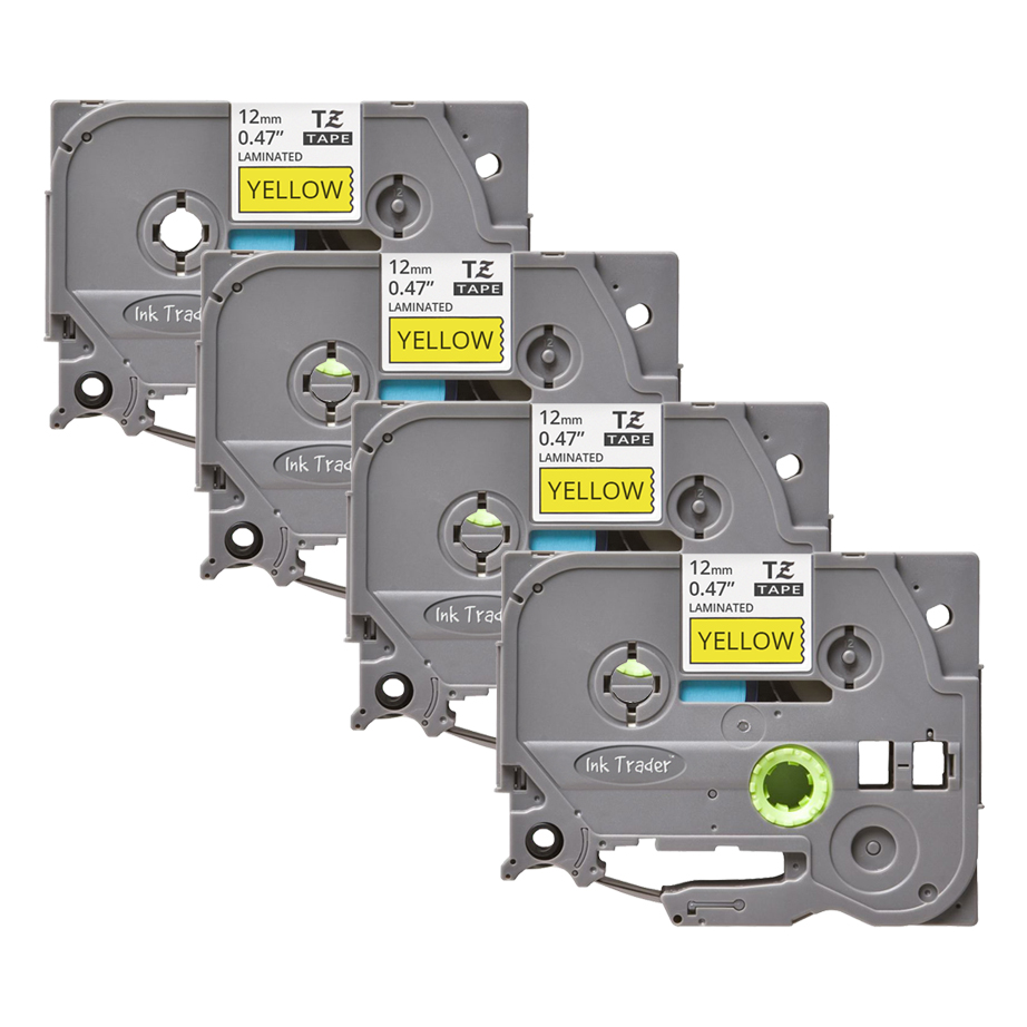 4x Brother P-Touch TZE-631 Yellow Labels - Brother P-Touch TZE631