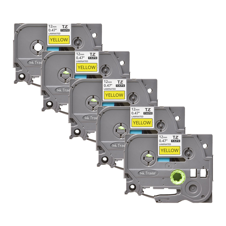 5x Brother P-Touch TZE-631 Yellow Labels - Brother P-Touch TZE631